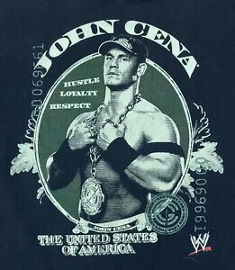 Vintage John Cena WWE T Shirt Hustle Loyalty Respect Men's Small