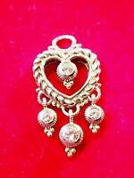 EXCELLENT Judith Ripka Sterling Silver Diamonique Heart Shaped Pendant
