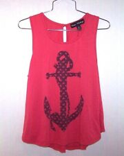 MASON & MACKENZIE Anchors Away Loose Fitting Tank Top/Pink & Navy Blue/S