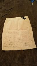 White House Black Market Leather & Suede Pencil Skirt Size 4