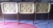 3 Vntg Saldak 50's Decorative Metal TV Serving Tray Kitchen Motif w Stands