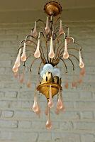 Vintage Italian 1960 metal gold gilt Muranp pink drops chandelier
