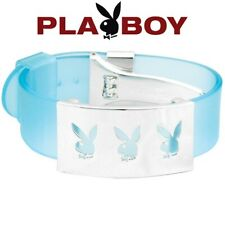 NEW Playboy Bracelet Bunny Logo Stainless Steel Charm Blue Cuff Silver Plated S