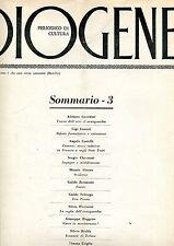 DIOGENE n° 3 1963 Guerini Lunari Castelli Checconi Alzona Zavanone Seborga