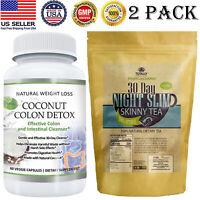 Coconut Colon Detox Capsules Night Slim Tea Weight Loss Fat Burn Tea Bags 2 Pack