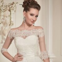 2017 Lace Off Shoulder Wedding Lace Boleros Jackets 3/4 Long Sleeves Custom