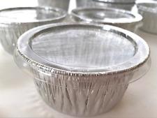 100 Aluminum Foil Muffin Cupcake Ramekin Disposable Cups with Lids, 4oz