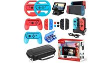 Accessories Super Kit for Nintendo Switch 17 Bundle Wheel Grip Caps Carrying cas