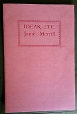 """1980 SIGNED James Merrill """"Ideas, Etc"""" NUMBERED LIMITED EDITION Original Mailer"""