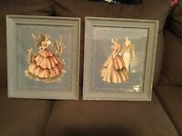 Signed Vtg 1940's Turner Air Brush Blue Victorian Couple Picture 15.5 By 13.5