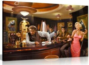Marilyn Monroe Elvis Presley James Dean In Bar Pop Art Hollywood Canvas Print