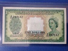 XT $ 5 A/30 247142 QE2 1953 MALAYA & BRITISH BORNEO NICE NUMBER RARE