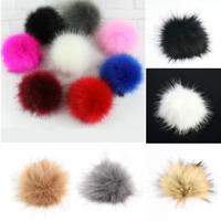 5inch Cute Big Faux Raccoon Fur Pom Pom Ball With Press Button Fit Knitting Hat