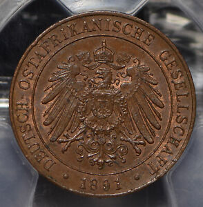 German East Africa 1891 AH 1308 Pesa Eagle animal PCGS MS63BN J-710 PC0767 combi