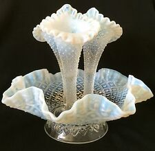 Rare Fenton Opalescent Hobnail Glass  3 Horn Epergne Garden Bowl Mid-Century