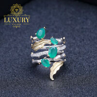 Natural 2.26Ct Green Agate Gemstone Solid 925 Sterling Silver Vintage Ring