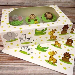 "Club Green ""Jungle Animals Cupcake Box, White"