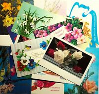 Postcards Mixed Lot 17 pcs  Vintage Unposted Card Flowers 60-80s Postcards set