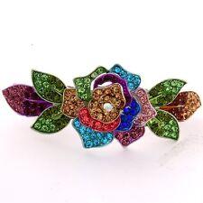 NEW Silver tone rhinestone crystal  multi flower hair barrette clip 14999f ma