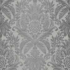 Signature Damask Wallpaper by Crown - French Grey M1067