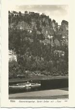 """W. Hahn-Foto AK Elbsandsteingebirge Elbdampfer """"Dresden"""" Bastei-Brücke, vor 1945"""