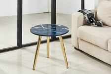 Set of Blue Marble Look Round Coffee Side Table Nightstand Chrome Golden Leg