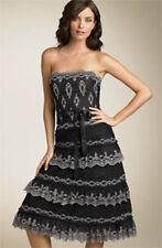 $498 BCBG BLACK/IVORY (TUL64453) LACE TIERED STRAPLESS DRESS NWT 12