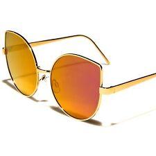 Designer Fashion Foxy Oversized Womens Pink Mirrored Lens Cat Eye Sunglasses