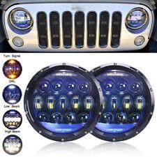 130W 7 inch LED Headlights Hi/Lo Beam For Jeep Wrangler CJ JK TJ LJ Rubicon 2Pcs