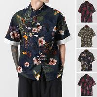 Hommes 100% coton chemise à manches courtes floral hauts chinois rétro t-shirt