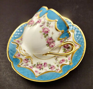 Antique Haviland & Co. Limoges Chocolate Cup & Saucer, Roses