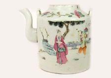 Ancien 19ème Siècle Chine Peint à la Main Famille Rose Porcelaine Théière Parc