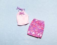SEXY! Purple Rose Print Mini Skirt w/ Pale Pink Top Genuine BARBIE