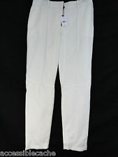 Magaschoni Collection Womens Linen Sport Slacks Pants, Solid White, 6 US