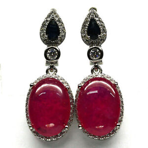 NATURAL 9 X 13 mm. PINK RUBY, SAPPHIRE & CZ 925 STERLING SILVER EARRINGS