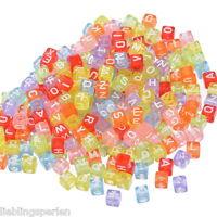 "2500 Mix Mehrfarbig Buchstaben ""A-Z"" Würfel Acryl Perlen Spacer Beads 6x6mm"