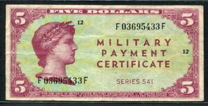 USA 1958, Military Payment, Series 541, 5 Dollar, M41,VF Rare