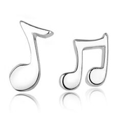 Small Sterling Silver Double Bar Note Stud Earrings Musical Symbol 3/8 inch K1