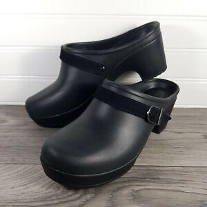 Crocs Sarah Black High Heel Mules Clogs Slip On Shoes aith Buckle, Women's Sz 7