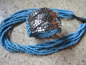Beautiful New Blue Turquoise Stranded  Bead Necklace & Silver Bead Bracelet Set