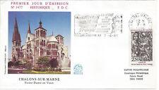 1986 - ENVELOPPE FLAMME 1er JOUR - N° 2404 - Notre DAME en VAUX - CHALONS/MARNE