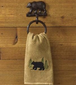 Park Designs Black Bear Towel Ring in Cast Aluminum  ~~  NEW ~~