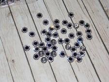 7mm fancy glass BLACK crystal clear gem dress coat button sew jewel rhinestone