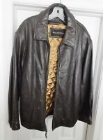 MARC NEW YORK Andrew Marc Men's Leather Jacket Coat Zip Lining Brown L Distress