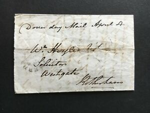 """GB 1843 CODED EX POSTMARK ON """"DOVER DAY MAIL"""" PART ENTIRE TO ROTHERHAM"""