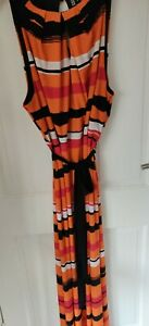 Ladies Size 20 Orange & Black Maxi Dress, Principles