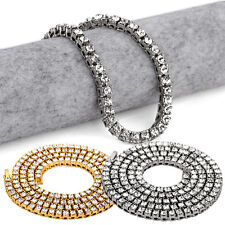 Necklace Chain Silver Gold Plated Mens Hip Hop Row Alloy Cubic Zirconia 2017