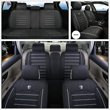 Deluxe Edition Linen Fabric Car Seat Cover Front Rear Protecter Cushion Mat Kit