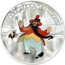 """Cook Islands 2011 $5 Adventures of Buratino """"Karabas"""" 1 Oz Silver Coin"""