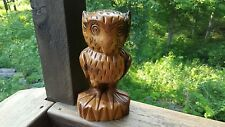 Vintage Retro Hand Carved Wooden Owl Handmade Natural Wood Grain Color